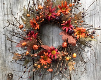 Fall Twig Wreath with Flowers,  Mini Pumpkins, and Burlap Leaves