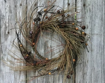 Rustic Fall Pine and Berry Wreath with Mini Pumpkins