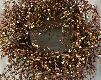 Fall Wreath with Orange, Brown, Tan, Mustard and Green Berries