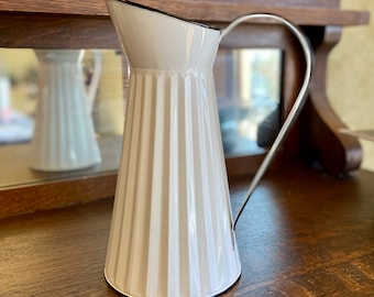 Vintage Look Metal Pitcher in White or Green with Black Trim