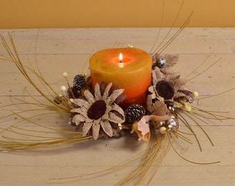 Fall Burlap Sunflower Candle Ring
