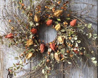 Extra Large Fall Wreath with Chinese Lanterns, Mini Pumpkins and Fall Foliage