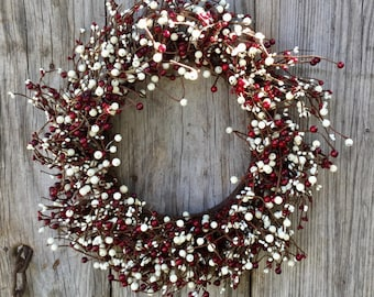 Red and Cream Pip Berry Holiday Wreath