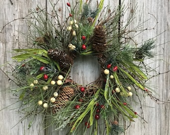 Christmas Wreath with Iced Pine, Red and Cream Pip Berries