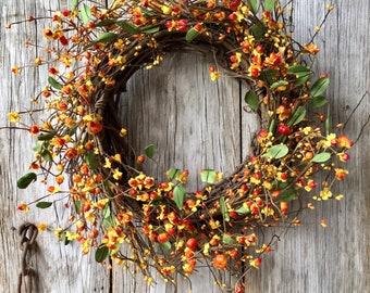 Bittersweet and Mini Pumpkin Wreath