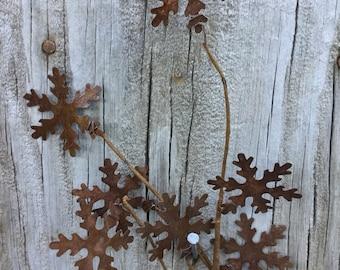 Rusty Tin Snowflake Pick