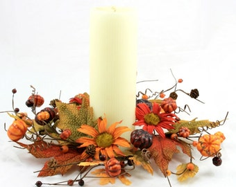 Fall Candle Ring with Pip Berries, Mini Pumpkins, Pine Cones, Leaves and Daisies - Fall Wreath - Centerpiece -  Free Shipping