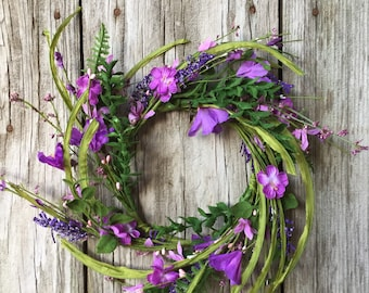 Spring Wreath with Purple Flowers and Pip Berries