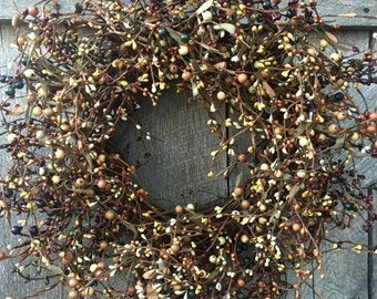 Fall Wreath with Mixed Pip Berries in Rich Fall Colors