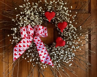 Valentines Wreath with Cream Pip  Berries and Red Sisal Hearts