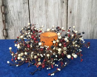 Patriotic Decor, Pip Berry Candle Ring with red, navy and cream berries, Mini Wreath,  Americana Centerpiece,Flameless Candle, Free Shi