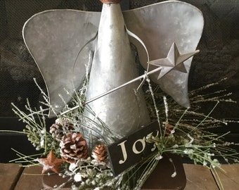 Galvanized Angel with Icy Pine and Joy Sign