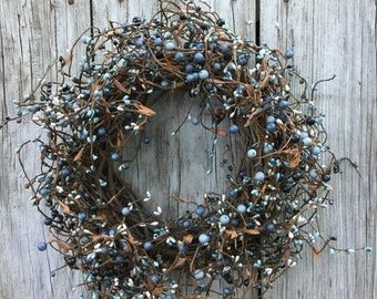 Mixed Blue Pip Berry Wreath