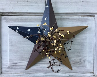 Colonial Barn Star with Burgundy and Mustard Pip Berries