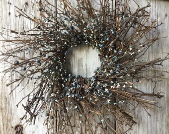 Twig Sunburst Wreath with Mixed Blue Pip Berries