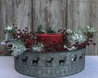 Christmas Centerpiece with Metal Tin, Flocked Pine, Berries and Flameless Candle
