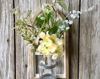Cathedral Wall Vase with Cream Hydrangea