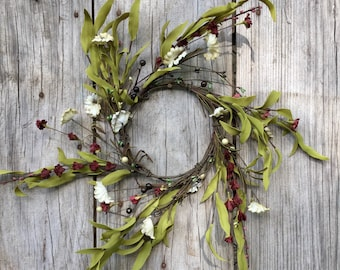 Pip Berry and Floral Wreath, Shabby Chic Wreath, Primitive Wreath, Tea Stain Floral, Primitive Centerpiece,Rustic Candle Ring, Free Shipping