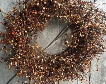 Fall Wreath with Mixed Fall Pip Berries