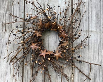 Twig Wreath with Black and Tan Primitive Pip Berries