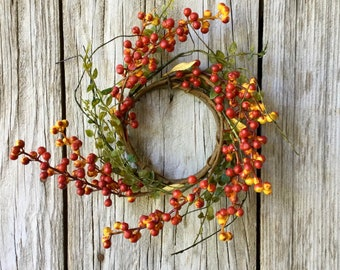 Fall Candle Ring with  Orange and Red Berry Clusters