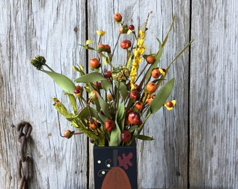 Wood Pumpkin Vase with Mini Pumpkins and Bittersweet, Fall Floral, Pumpkin Decor, Autumn Decor, Fall Bittersweet,  Primitive Fall Decor