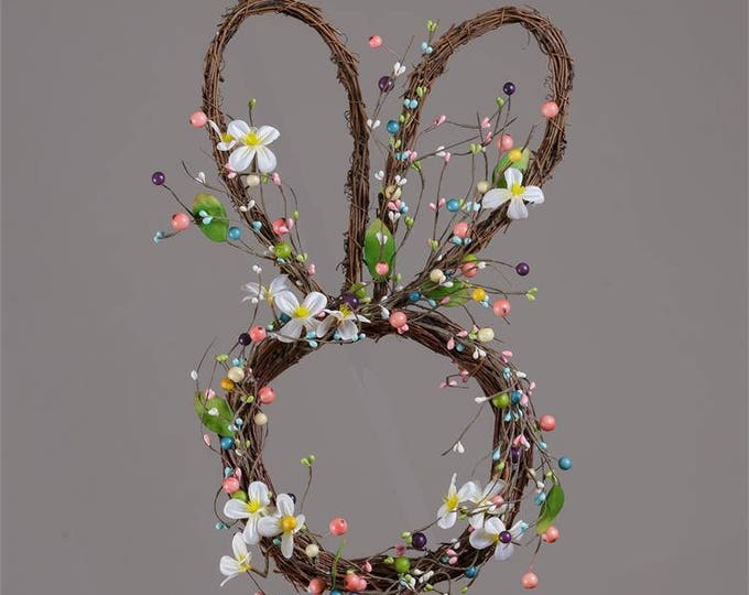Featured listing image: Easter Bunny Wreath with Spring Flowers and Pip Berries