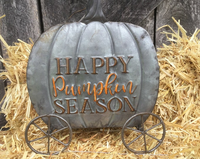 Featured listing image: Happy Pumpkin Season Carriage Planter