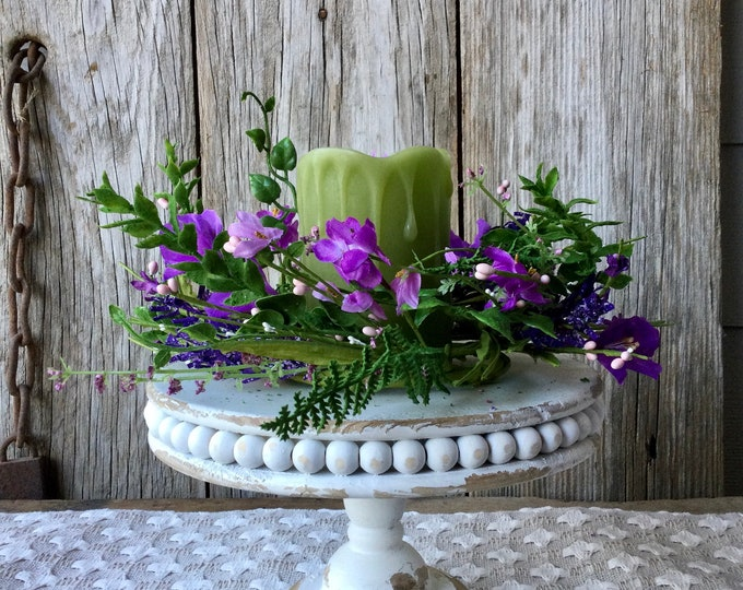 Featured listing image: Distressed White Pedestal with Flameless Candle and Purple Floral Candle Ring