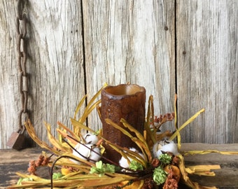Fall Cotton and Chinese Lantern Candle Ring