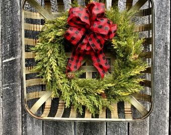 Faux Cedar Wreath in Tobacco Basket