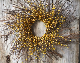 Twig Sunburst Wreath with Mixed Pip Berries in Bright Yellow