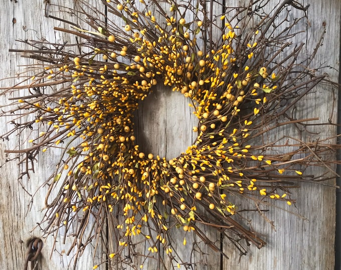 Featured listing image: Twig Sunburst Wreath with Mixed Pip Berries in Bright Yellow