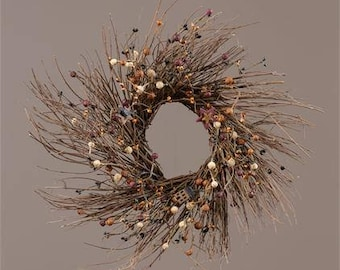Rustic Country Twig Wreath with Assorted Berries and Primitive Accents