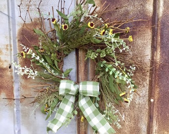 Summer Twig Wreath with Wild Daisies and Ferns