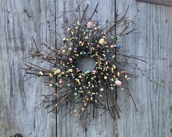 Easter Wreath - Easter Egg Wreath - Primitive Easter Wreath-Pip Berry and Easter Egg Wreath - Primitive Easter Decor - Free Shipping