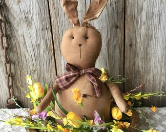 Easter Centerpiece with Primitive Bunny and Spring Flowers