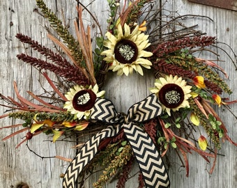 Twig Sunflower and Berry Wreath