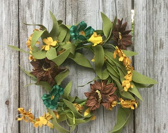 Fall Sunflower and Daisy Candle Ring or Mini Wreath
