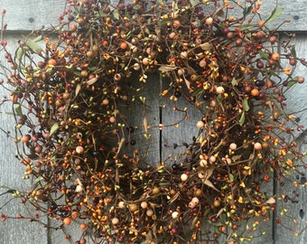 Fall Wreath with Orange and Burgundy Pip Berries