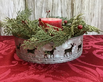 Christmas Centerpiece with Reindeer Tin and Winter Greens