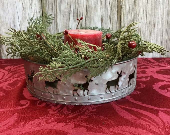 Featured listing image: Christmas Centerpiece with Reindeer Tin and Winter Greens