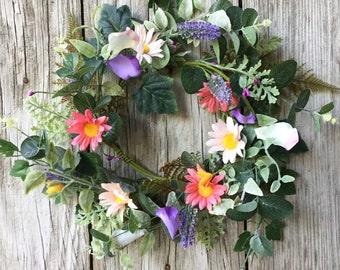 Summer Wreath with Pink, Blue and Purple Flowers