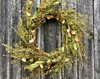 Dried Cotton Pod Wreath With Summer Greenery