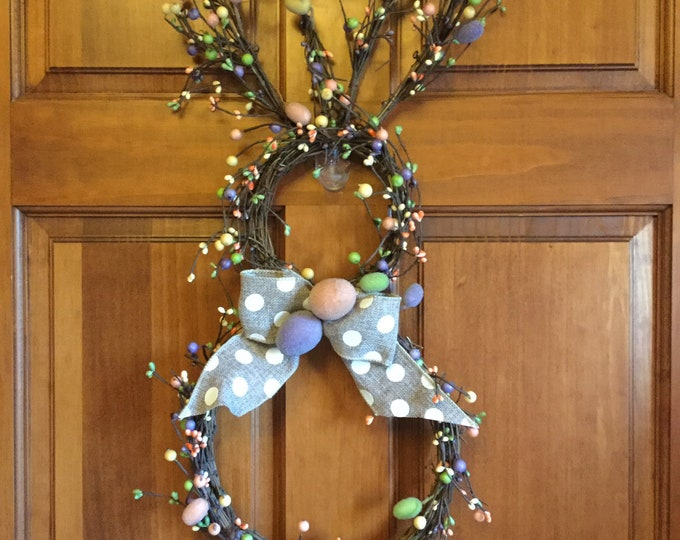 Featured listing image: Easter Bunny Wreath with Pastel Pip Berries and Easter Eggs