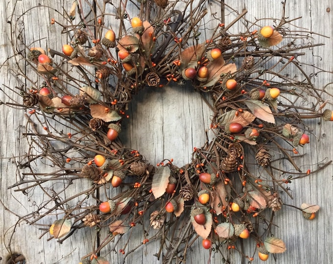 Featured listing image: Rustic Autumn Wreath with Pip Berries, Acorns and Fall Leaves
