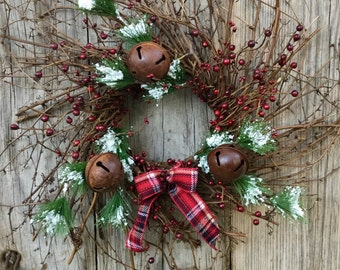 Red Berry, Pine and Bell Twig Wreath
