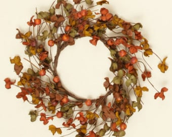 Fall Candle Ring with Orange Berries and Fall Foliage