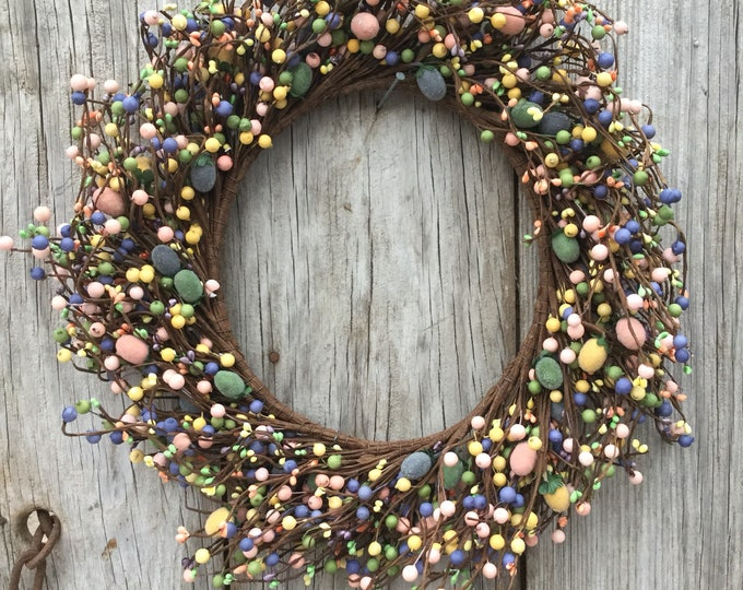 Featured listing image: Easter Wreath with Mini Eggs and Pip Berries, Easter Decor, Storm Door Wreath, Easter Wreath, Candle Ring, Storm Door Wreath, Free Shipping