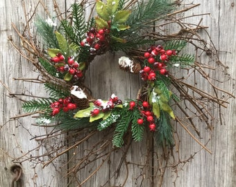 Christmas Wreath with Flocked Pine, Berried and Pine Cones